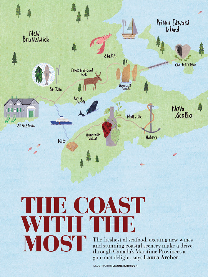 Canada gourmet travel map lianne harrison illustration gourmet travel map illustration of canadas maritime provinces for house garden magazine houseandgarden gumiabroncs Gallery