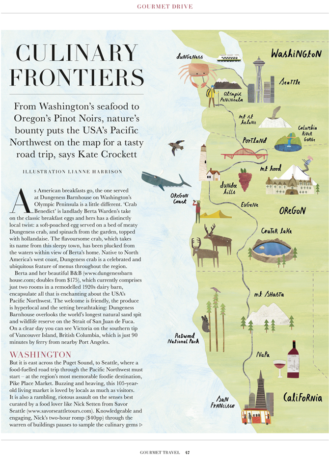 USA Northwest Gourmet Travel Map Lianne Harrison Illustration – Map Usa North West